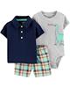 Carters ست 3 تکه لباس نوزادی پسرانه طرح دایناسور کد M199 - طوسی سرمه ای