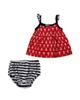 Fiorella ست سه تکه نوزاد دخترانه مدل fi-2028 - قرمز سرمه ای - طرح لنگر