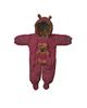 لباس نوزادی - سرهمی نوزادی طرح Bear کد Z-101 - زرشکی - طرح خالخالی و خرس