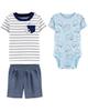 Carters ست 3 تکه لباس نوزادی پسرانه کد 1278 - آبی سفید سرمه ای -طرح تنبل