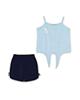 Piano ست تاپ و شلوارک نوزادی دخترانه - آبی روشن سرمه ای -بندی -نخپنبه