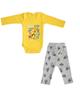- ست بادی و شلوار نوزادی مدل ابزار رنگ زرد