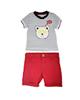 - ست تی شرت و شلوارک نوزادی مدلL8836GH -سفیدسرمه ای قرمز - راه راه
