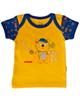 آدمک تی شرت آستین کوتاه نوزادی مدل Little Bear - زرد تیره سرمه ای