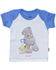 آدمک تی شرت نوزادی پسرانه طرح خرس پشمالو - سفید آبی - آستین کوتاه