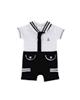 Fiorella سرهمی نوزاد پسرانه مدل fi-2003 -سفید سرمه ای -طرح جودون -نخپنبه