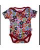 بی بی ناز بادی نخی طرح دار نوزادی - قرمز - گل دار - آستین کوتاه