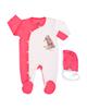 لباس نوزادی - ست سرهمی و کلاه نوزادی آدمک طرح Bear - گلبهی