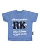 آدمک تی شرت نوزادی پسرانه مدل 143401B - آبی سفید سرمه ای - نخ