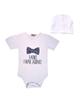- ست بادی و کلاه نوزادی دخترانه طرح پاپیون مدل 01 - سفید