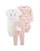 - ست 3 تکه لباس نوزادی دخترانه کد 10160 - گلبهی سفید - طرح خرگوش