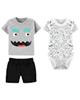Carters ست 3 تکه لباس نوزادی پسرانه مدل925-سفید طوسی مشکی -تریکو-طرح دار