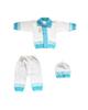 - ست 3 تکه لباس بافت نوزادی مدل KI_BI_1 - سفید آبی