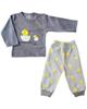 - ست تی شرت و شلوار نوزاد مدل جوجه - خاکستری زرد