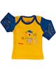 آدمک تی شرت آستین بلند نوزادی مدل Little Bear - زرد تیره و آبی تیره