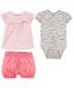 Carters ست 3 تکه لباس نوزادی دخترانه کد 1305 - طوسی صورتی سفید - طرح دار