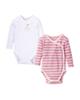 لباس نوزادی - بادی نوزادی لوپیلو مدل WPR20 مجموعه 2 عددی - سفید- صورتی راه راه
