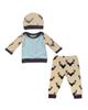 - ست 3 تکه لباس نوزادی کد 506 - کرم خاکستری - طرح گوزن