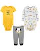 Carters ست 3 تکه لباس نوزادی پسرانه کد 1300 - سفید زرد مشکی - طرح سگ