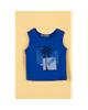Piano تاپ نوزاد پسرانه آستین حلقهای - آبی کاربنی - طرح درخت