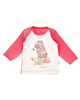 آدمک تی شرت آستین بلند نوزادی مدل Woolly Bear - گلبهی سفید قهوه ای